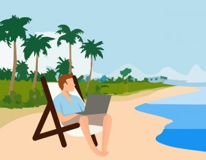 vector of man working by the beach