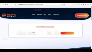 EaSync Booking Plugin Installation Preview of New Hotel Booking Page