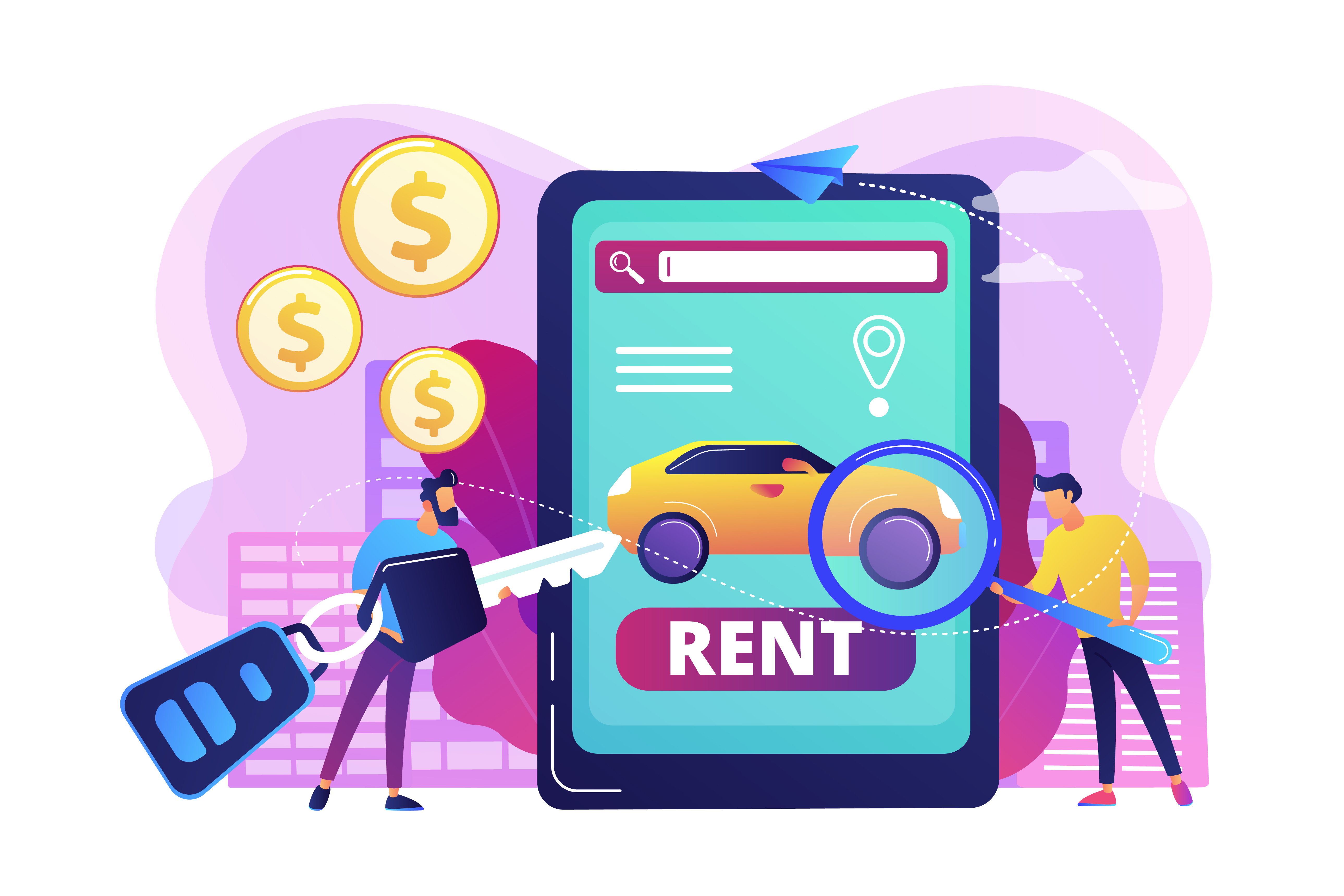 How to Create an Engaging Car Rental Website Car Rental Owner and Customer Meeting Up