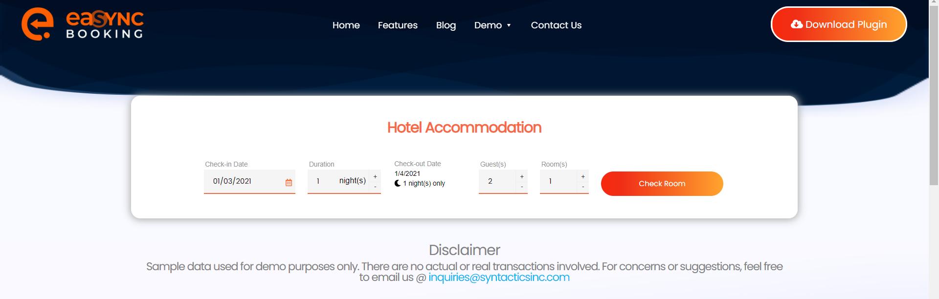 EaSync Hotel Booking Plugin Hotel Accommodation