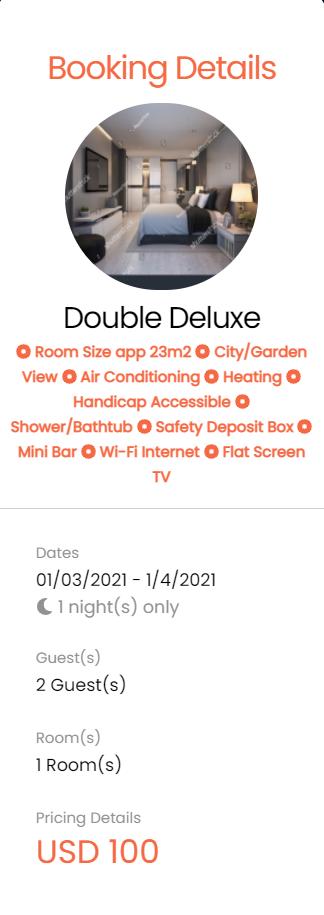 EaSync Hotel Booking Plugin Booking Summary