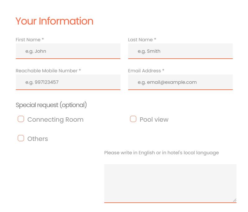 EaSync Hotel Booking Plugin Personal Information