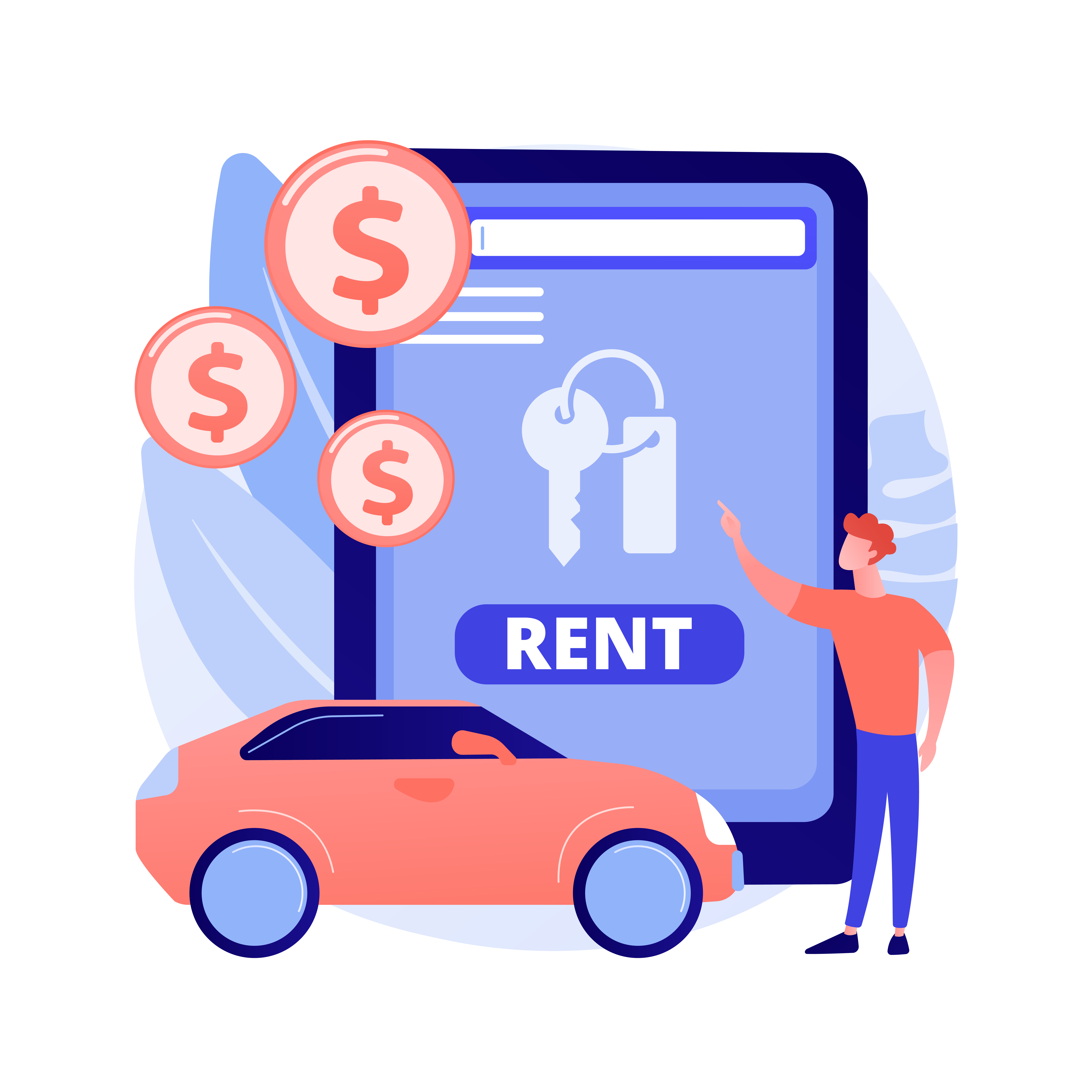 Upgrade Car Rental Systems Through Technology Man Renting Car from Car Rental Services Provider