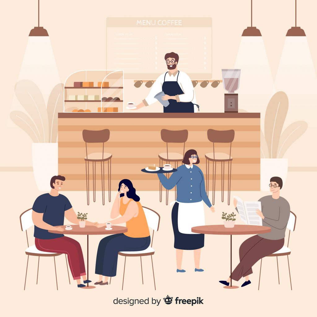 How Restaurant Reservation Systems Handle Overbooking Coffee Shop With Three Guests One Waitress And A Bartender