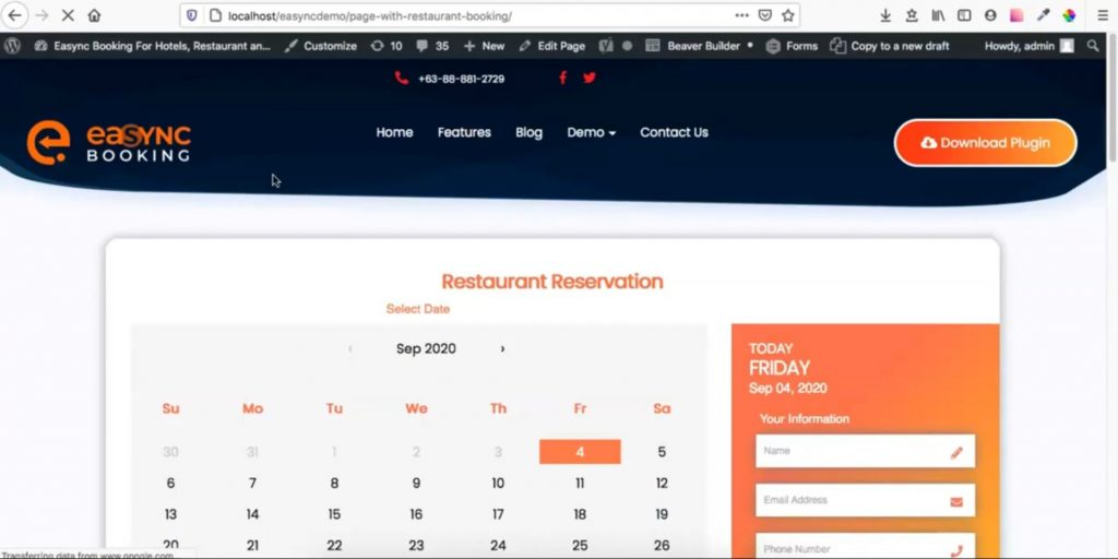 Restaurant Reservation Plugin Installation Guide Restaurant Reservation Page