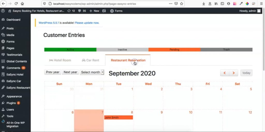 Calendar Viewing for Reservation Requests