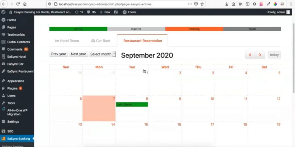 Calendar Viewing for Reservation Entries