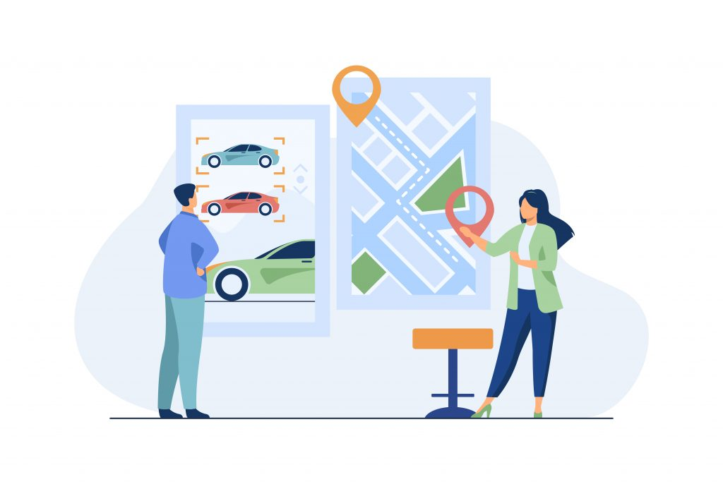 Ten Essential Car Rental Features for your Car Rental Site Man and Woman Choosing Car to Rent