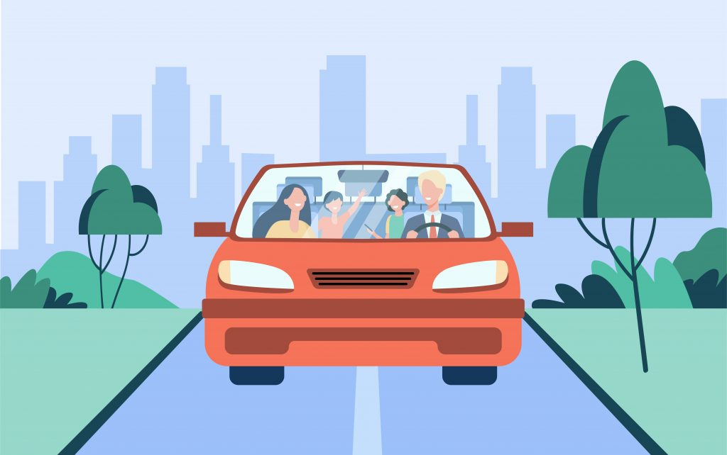 7 Must-Know Car Rental Tips for First-Time Travelers Family in Rented Car Front View